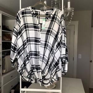 Honey Punch b&w plaid shirt faux wrap 3/4 sleeve